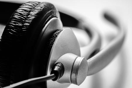 Telephone headset on a white background Stock Photo