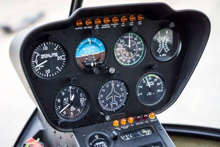 yaw: Helicopter Cockpit Flight Instrument Panel Gauges