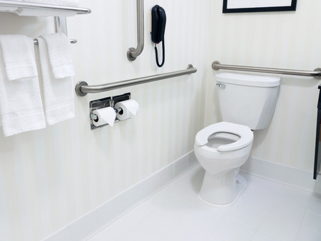 Handicapped access bathroom with grab bars and a toilet