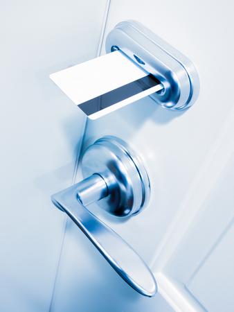 Hotel room keycard door lock with a blue tone