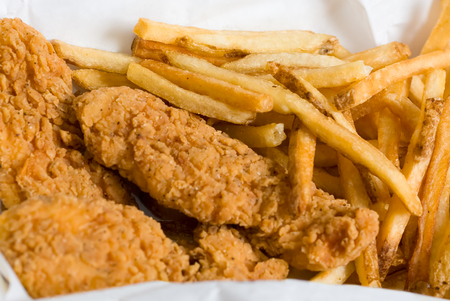 Breaded Chicken Strips and French Fries