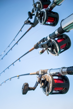 Picture of four fishing rods and reels against a clear blue sky