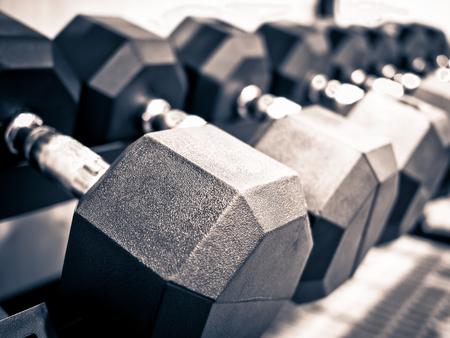 Rack of hand free weight dumbbells at a healthclub gym Reklamní fotografie
