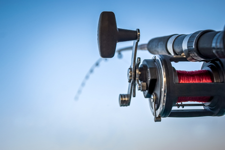 Picture of a fishing pole and reel under a blue sky with copy space for adding text