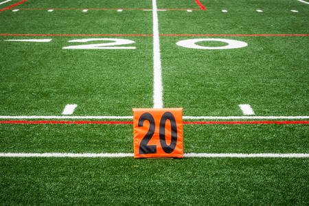 Picture of football 20 yard line number marker Stock Photo