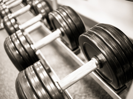 Dumbbell free weights on a rack at a healthclub gym
