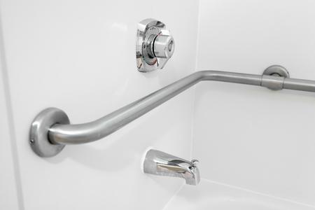 Disabled Access Bathtub Grab Bar Handrail In A Hotel Bathroom Stock ...