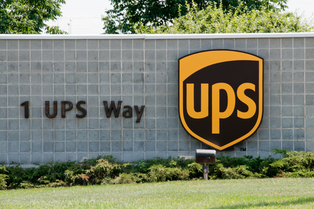 UPS sign at the United Parcel Service warehouse in Hodgkins, IL Stock Photo