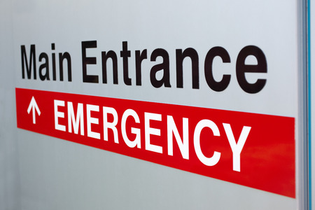 Picture of hospital emergency and main entrance sign Stock Photo