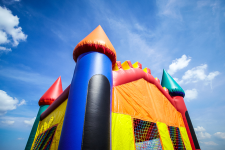 Children's inflatable jumpy house castle top half. Image Copyright © 2009 Paul Velgos with All Rights Reserved. Foto de archivo
