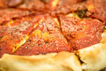 深皿ピザ。著作権 © すべての権利予約とポール Velgos。 写真素材
