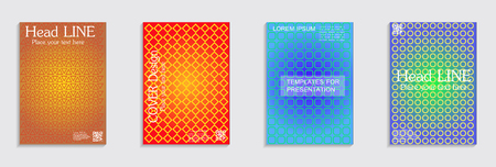 Vector journal design geometric shape background set, halftone lines hipster pattern abstract covers collection.