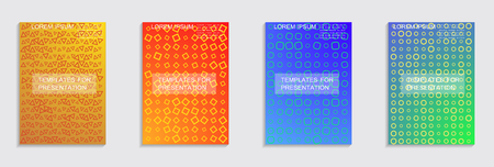 Journal design geometric shape background set, halftone lines hipster pattern abstract covers collection.