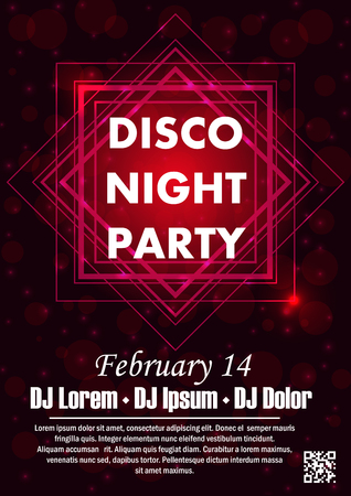 Party poster vector background template with particles, plexus lines, highlight and modern geometric shapes Vectores