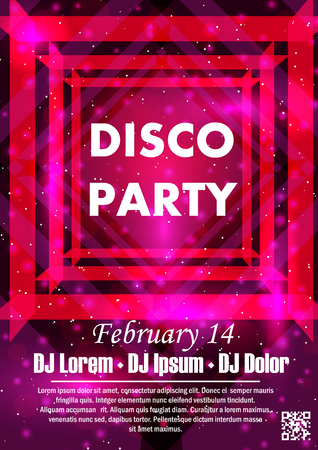 Party poster vector background template with particles, plexus lines, highlight and modern geometric shapes Illustration
