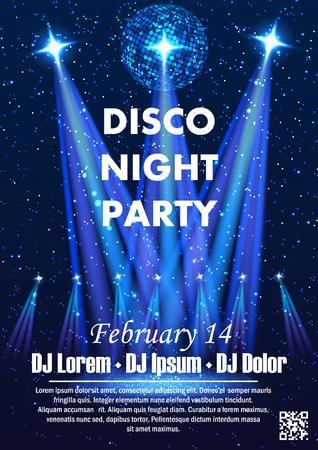 Plantilla de cartel de vector de fiesta de noche de discoteca con brillantes focos de fondo