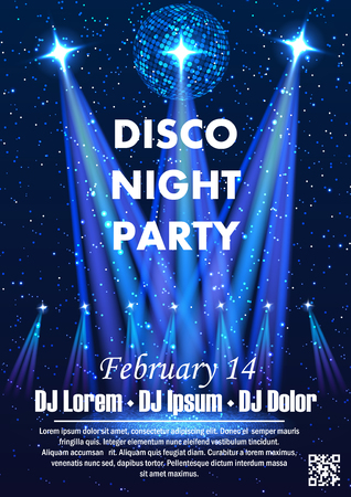 Disco night party vector poster template with shining spotlights background