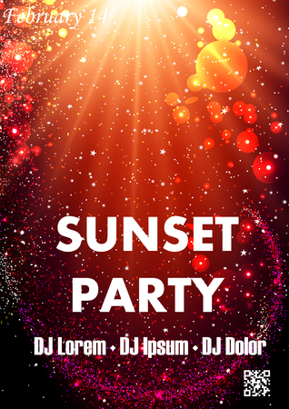 Disco sunset party poster template with shining spotlights but a bit dark backdrop