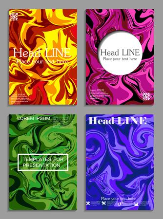 Liquid colors covers set in bright colors mixture.