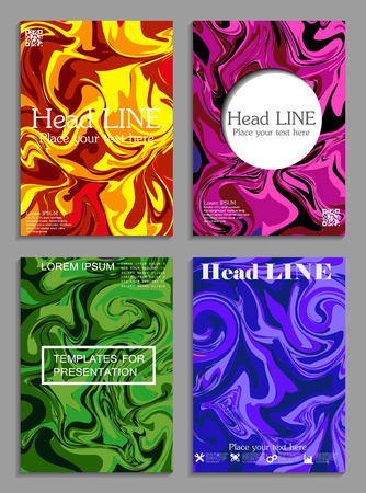 Liquid colors covers set. Bright colors mixture. Eps10 vector.