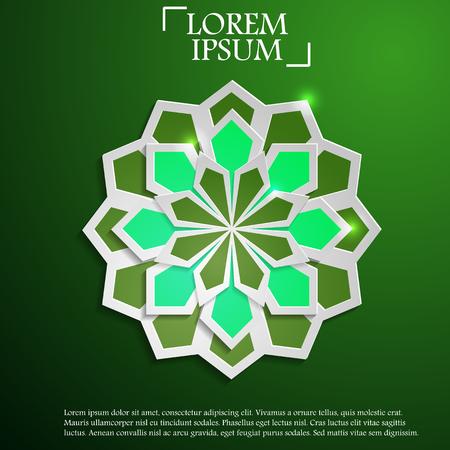 Paper graphic of Islamic geometric art Illustration