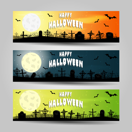 Three horizontal Halloween banners detailed vector set.