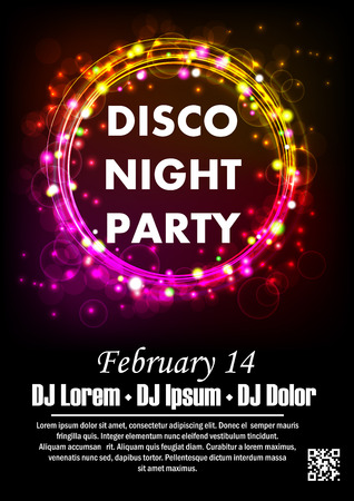 Disco night party vector poster template with shining background