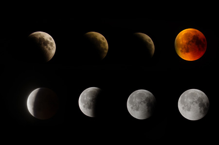 From beginning till end of lunar eclipse as 8 section in Eskisehir, Turkey July 27, 2018