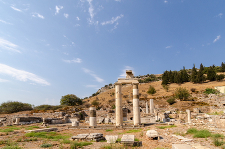 Ruins of the ancient city of Ephesus, the ancient Greek city in Turkey, in a beautiful summer day Stock Photo