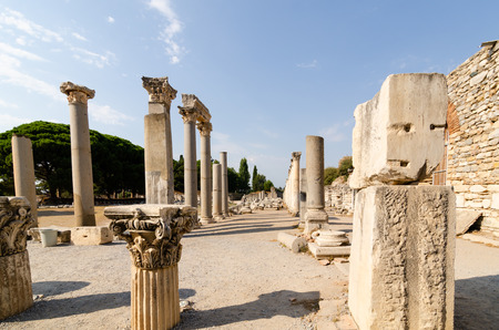 Ruins of the ancient city of Ephesus, the ancient Greek city in Turkey, in a beautiful summer day.