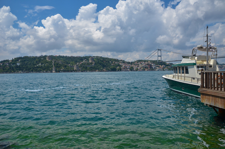The first one bridge of Bosphorus channel at Istanbul in Turkey. This bridge connecting Europe with Asia.European continent cityscape from Asia continent