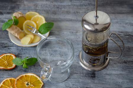 Herbal tea with lemon ,ginger, sage, linden and fresh mint leaves