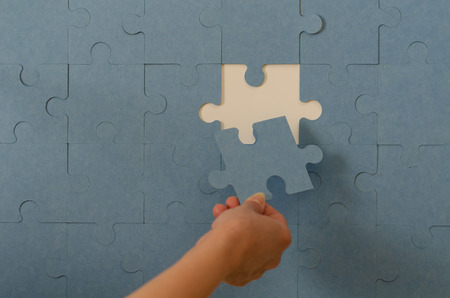 Last connecting piece jigsaw puzzle. Business connection, success and strategy concept, copy space Standard-Bild - 120730202