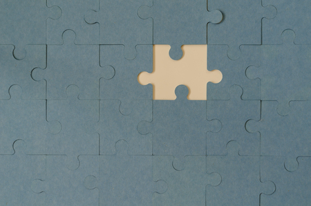 Background of blue puzzle with missing piece.Business strategy teamwork and problem solving concept. Standard-Bild - 120363943