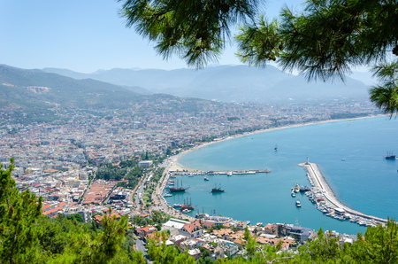Alanya,Turkey-June 25,2019:View from the Alanya Castle  to the city of Alanya (Turkey) Editorial