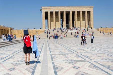 ANKARA, TURKEY - July 29, 2019: Tourists visiting Ataturk Mausoleum, Anitkabir, monumental tomb of Mustafa Kemal Ataturk,
