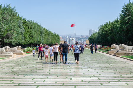 ANKARA TURKEY - JULY 29,2019 : People walk in Road of Lions to reach Anitkabir mausoleum of Mustafa Kemal Ataturk. Many people visit Anitkabir every year.