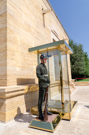 ANKARA, TURKEY - JULY 29, 2019:  The guard soldier in Anitkabir, Mausoleum of Ataturk, founder of Turkish Republic in Ankara, Turkey Editorial