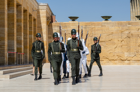 ANKARA, TURKEY - JULY 29, 2019: The guard shift ceremony in Mausoleum of Ataturk - Ankara, Turkey Editorial