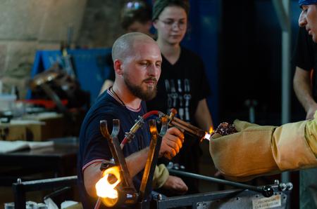 Eskisehir,TURKEY-September 27,2019: Odunpazarı 7th international glass festival.Artisan working with fire Editöryel