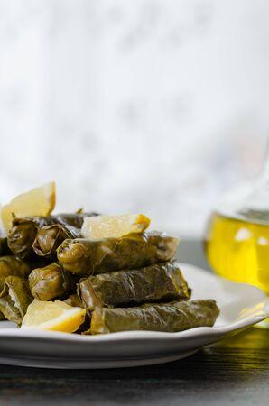 Traditional Turkish Dolma, Sarma or Dolmades, Eating Traditional Mediterranean Dish