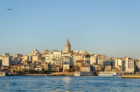 Istanbul,Turkey - January 25, 2020: Galata Tower in the background Istanbul views.
