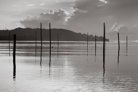 Monochrome abstract landscape of an island and sea Stock Photo