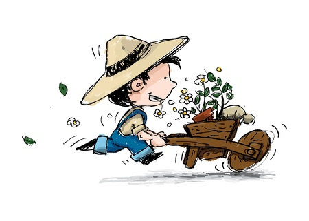 suspenders: Grunge style illustration of a boy in suspenders and a straw hat running with his gardening cart