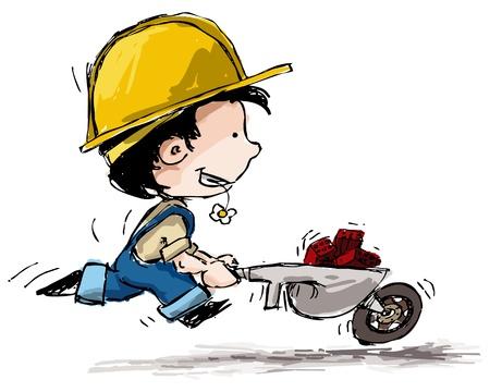 schubkarre: Grunge-Stil Illustration eines Jungen in Bauer