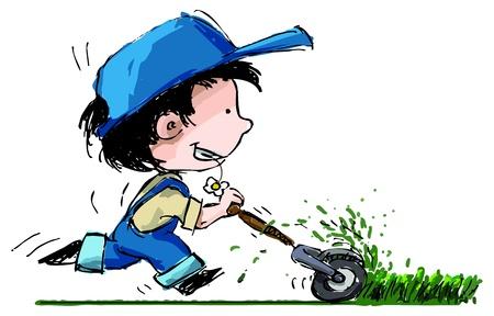 tondeuse: Illustration de style grunge d'un gar�on fermier Illustration