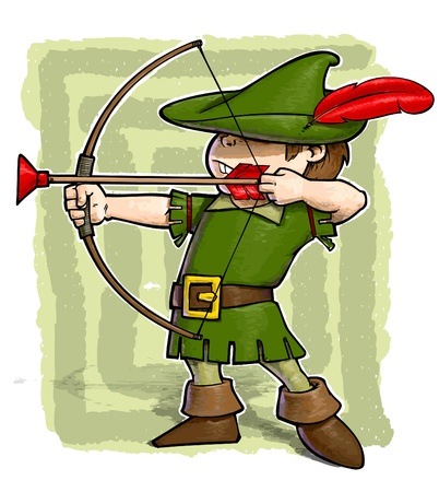 A grunge illustration of a boy with a bow and arrow dressed as Robin Hood