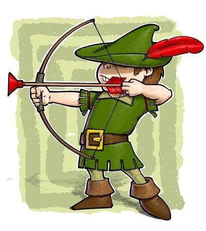 arco y flecha: Una ilustraci�n del grunge de un chico con un arco y flecha vestido como Robin Hood
