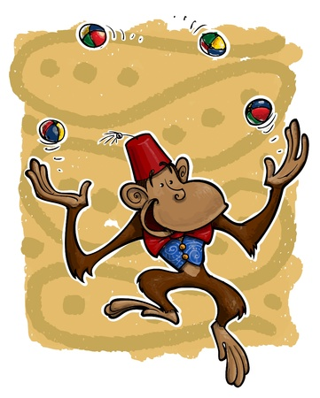 A grunge illustration of a dancing monkey joggling foot bags.