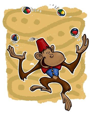 juggling: Una ilustraci�n del grunge de un mono bailar sacudiendo bolsas de los pies. Vectores